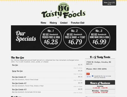 B+G Tasty Foods Website