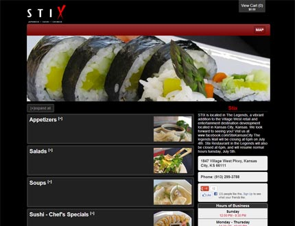 Stix Sushi and Hibachi Grill Website