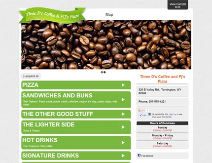 Three D's Coffee and PJ's Pizza Website